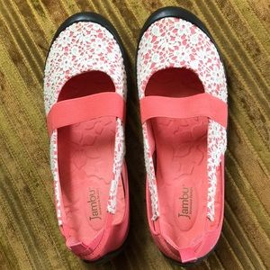 Jambu pink & white lace Mary Janes